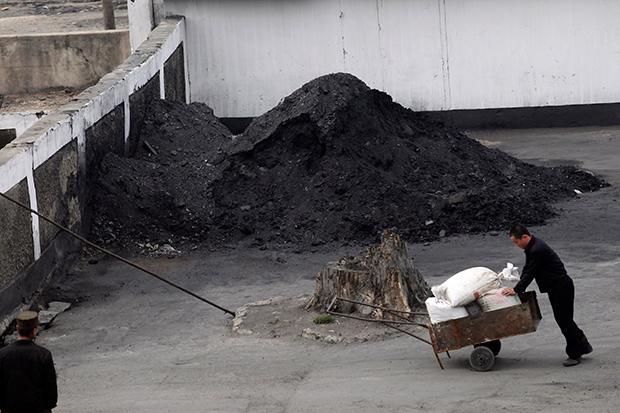평양의 한 주민이 석탄 더미 옆에서 손수레를 끌고 있다.