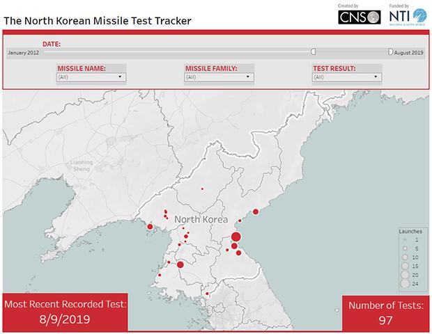 김정은 정권 출범 이후(2012년) 북한이 미사일 시험 발사한 횟수와 지역. 8월 9일 현재 97회 시험 발사, 발사 장소는 22곳에 달한다.
