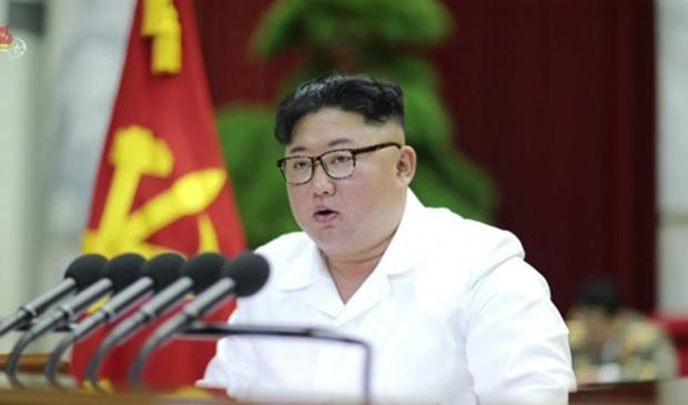 사진은 김정은 북한 노동당 위원장이 노동당 7기 5차 전원회의를 주재하고 있는 모습.