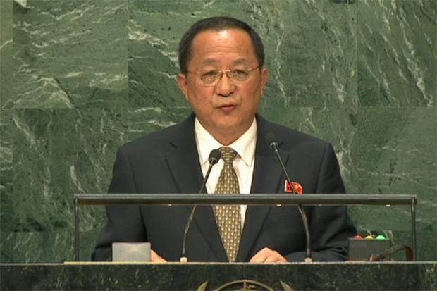 유엔총회 연설에 나선 리용호 북한 외무상의 모습.