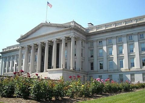 미국 워싱턴 DC의 재무부 건물.