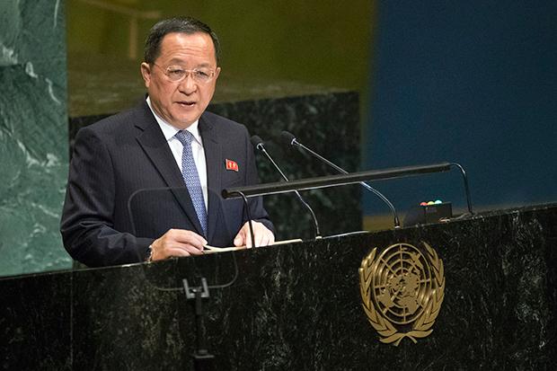 제73차 유엔총회에서 연설을 하고 있는 리용호 북한 외무상.