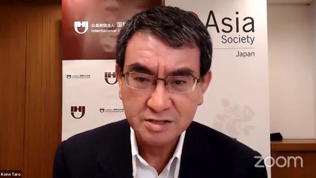 20일 미국 민간연구기관인 아시아소사이티(Asia Society)가 주최한 일본 자위대의 코로나19 대응을 다룬 온라인 토론회에서 발언하는 고노 다로 일본 방위상.