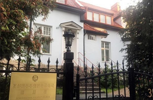 스웨덴 스톡홀름 외곽에 위치한 북한대사관 전경.