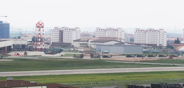 미 국방부 해외 육군 기지들 중 최대 규모인 경기도 평택시 캠프 험프리스 모습.