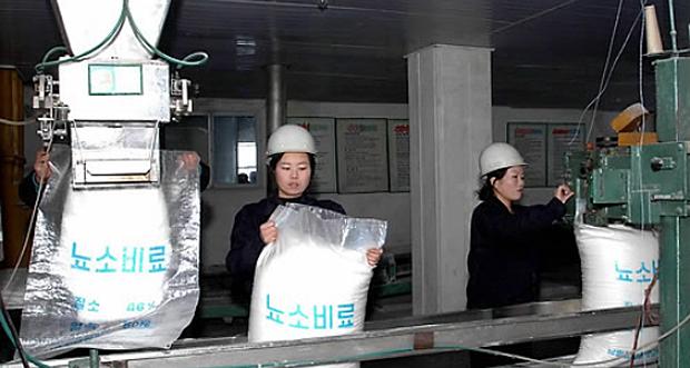 남흥청년화학련합기업소에서 비료생산을 하고 있는 북한 노동자들.