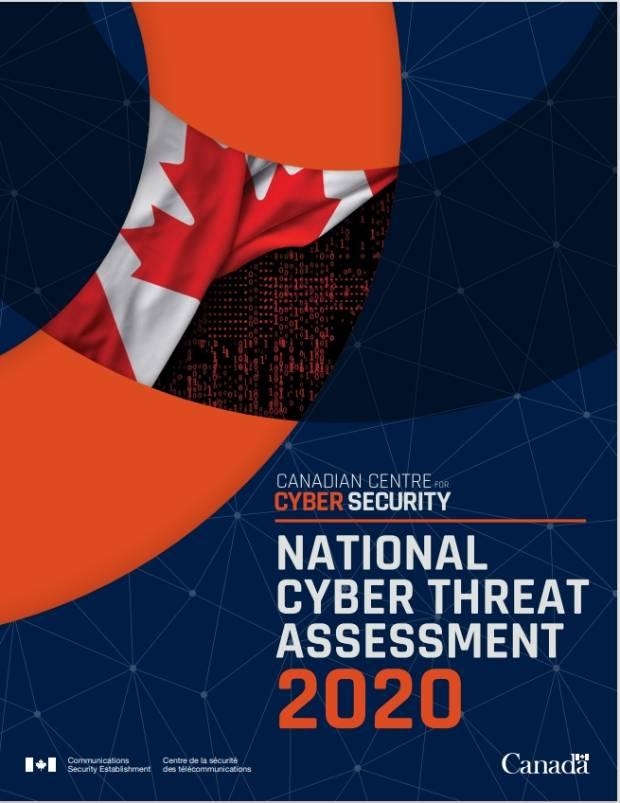 캐나다 통신보안청이 발표한 국가 사이버 위협 2020년 보고서 표지.