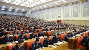 지난달 말에 열린 북한 노동당 제7기 제5차 전원회의 모습. 사진 왼쪽 동그라미는 현송월 당 부부장, 오른쪽 동그라미는 김정은 국무위원장의 동생인 김여정 당 제1부부장으로 추정된다.