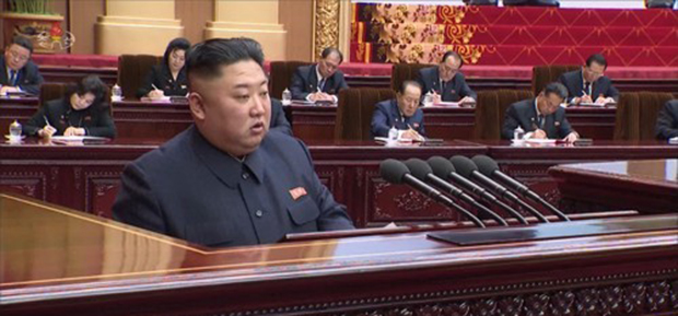 김정은 북한 국무위원장이 12일 최고인민회의 제14기 제1차회의에 참석했다. 조선중앙TV는 지난 13일 오후 김정은 국무위원장의 시정연설 발표 영상을 방영했다.