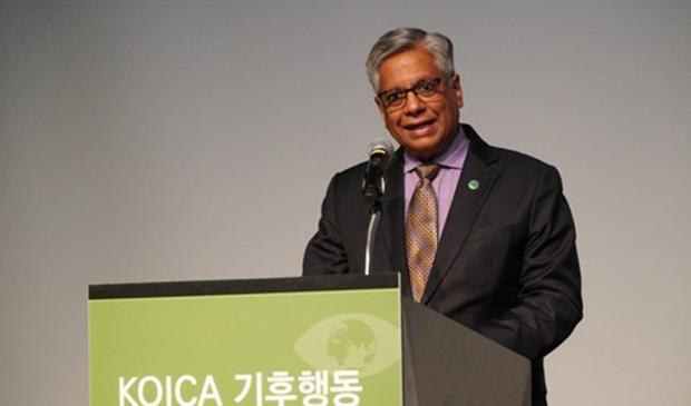 지난 6월 서울 중구 더플라자호텔에서 열린 '코이카 기후행동 파트너십 포럼'에서 킬라파르티 라마크리슈나 녹색기후기금(GCF) 전략기획국장이 축사하고 있다.