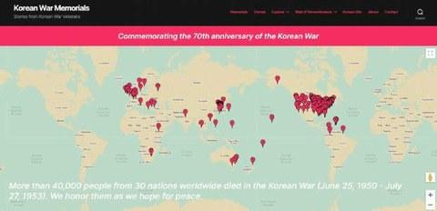 리맴버727 김한나 대표가 한국전쟁 70주년을 맞아 개설한 '한국전쟁 온라인 기념관'(Korean War Memorials) 홈페이지 첫 화면.