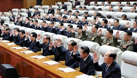 사진은 지난 4월에 열린 노동당 제7기 제4차 전원회의 모습.