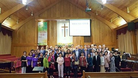 지난 4월 워싱턴 순복음 제일교회에서 열린 디아스포라 통일 선교의 밤에 참가자들이 함께하고 있다.
