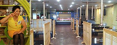 이순실 씨(왼쪽)와 최근 개업한  식당 '평양댁 순실이네' 내부 모습.